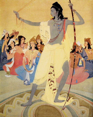 Arjuna as a Victor - Abdur Rahman Chugtai - Classic Indian Art by Abdur Rahman Chughtai
