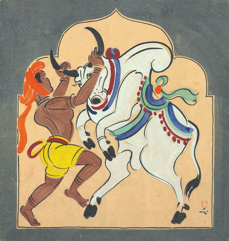 Bull Fighter - Nandalal Bose - Haripura Art - Bengal School Indian Painting by Nandalal Bose