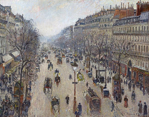 Boulevard Montmartre Morning Cloudy Weather by Camille Pissaro