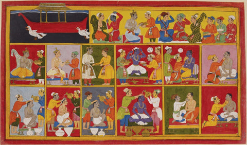Indian Miniature Paintings - Pahari Paintings - The Brothers Prepare For Ramas Coronation