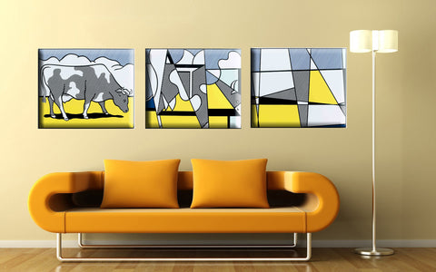 Cow Abstract Roy Lichtenstein - Gallery Wrapped Panels (24 x 30) x 3