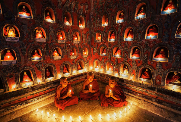 Artwork Prints of 3 Novices Meditating - Art Prints by Charles Ooi