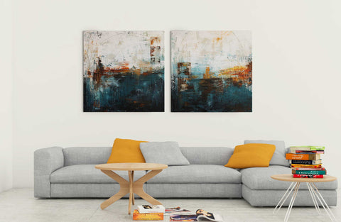City Nights - Modern Abstract Painting - Set Of 2 Gallery Wrap (30 x 30 inches) each
