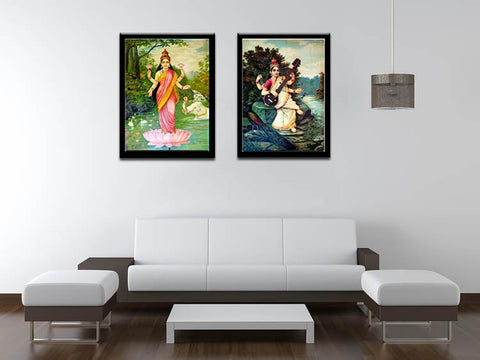 Set Of 2 Raja Ravi Varma Paintings- Lakshmi and Saraswati - Framed Canvas by Raja Ravi Varma
