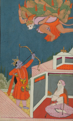 Indian Miniature Paintings - Rajasthani Paintings - Gods And Demons