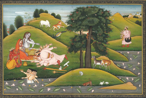 Indian Miniature Art - Pahari Style - Bana Prostrating at Shivas Feet by Kritanta Vala