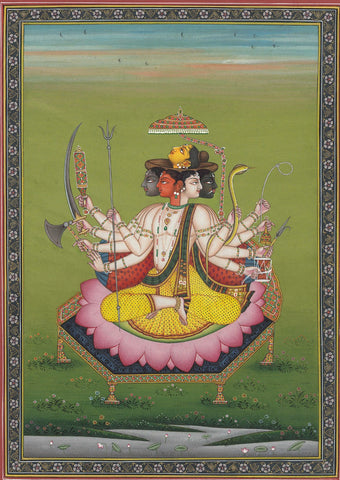 Indian Miniature Art - Pancha Mukha Shiva by Kritanta Vala