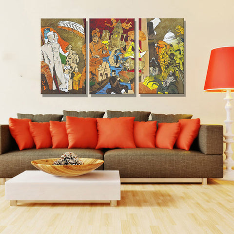 Tale Of Three Cities - 3 Canvas Art Panels