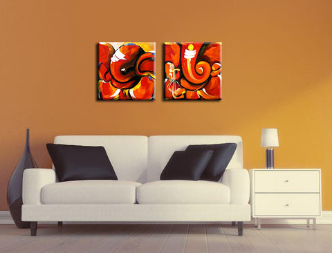Abstract Ganesha - Set of 2 Canvas Gallery Wraps - ( 24 x 24 inches)each