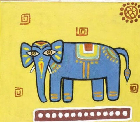 Jamini Roy - Blue Elephant by Jamini Roy