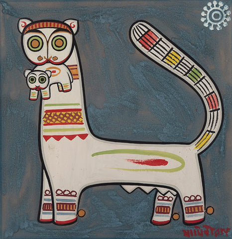 Jamini Roy - White Tiger Holding Cub In Its Mouth