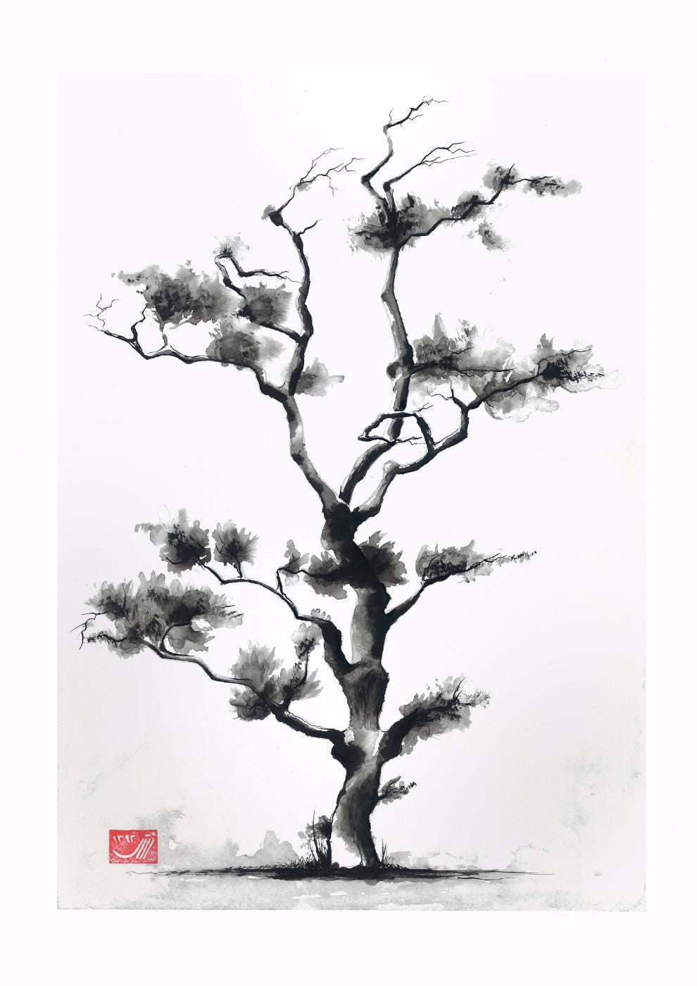 Japanese Art - Black & White Tree - Framed Prints by Tommy | Buy ...