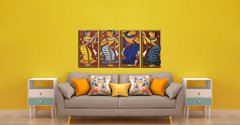 Set of 4 Jamini Roy Paintings - Framed Canvas - Large (17 x 30)  inches each by Jamini Roy