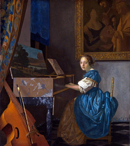 Young Woman Seated At The Virginal by Johannes Vermeer