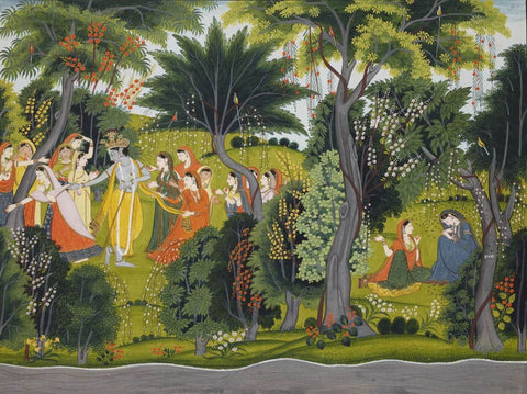 Krishna With Gopis - Pahari Painting