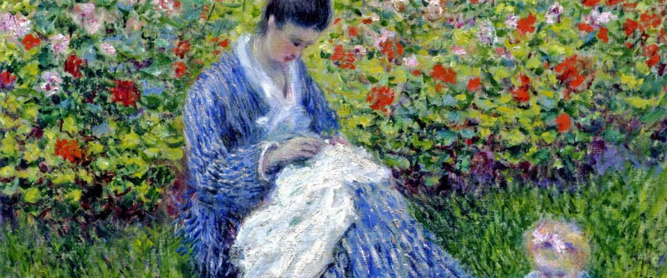 Camille Monet and a Child in the Artist's Garden in Argenteuil by Claude Monet | Buy Posters, Frames, Canvas  & Digital Art Prints