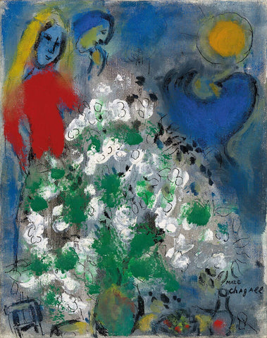 Blue CockAnd White Bouquet (Coq bleu et bouquet blanc) - Marc Chagall
