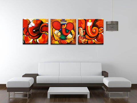 Abstract Ganesha - Set of 3 Canvas Gallery Wraps - ( 18 x 18 inches)each