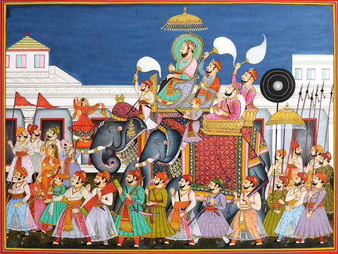 Indian Miniature Art - Rajasthani Paintings - Wedding Procession