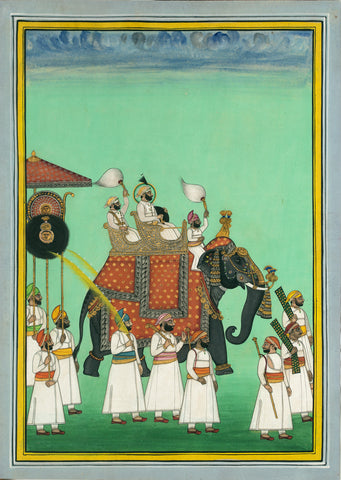 Indian Miniature Art - Rajasthani Paintings - Maharana Sarup Singh Of Mewar Riding