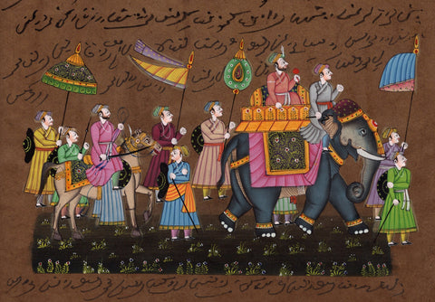 Indian Miniature Art - Rajasthani Paintings - Procession