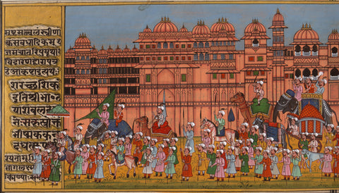 Indian Miniature Art - Rajasthani Paintings - Maharaja Procession