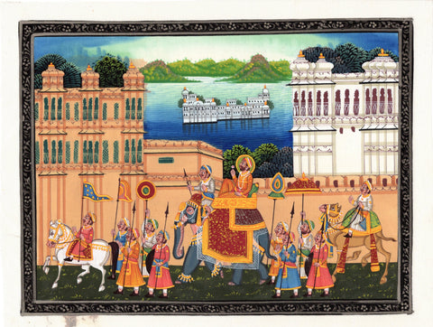 Indian Miniature Art - Rajasthani Paintings - Royal Companions And Warriors