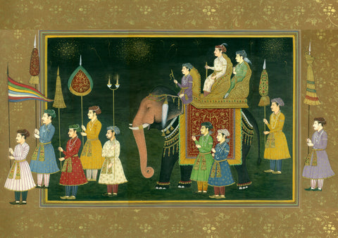 Indian Miniature Art - Rajasthani Paintings - The Wedding Procession Of A Mughal Prince