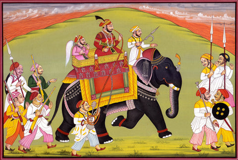 Indian Miniature Art - Rajasthani Paintings - Mughal Wedding Procession