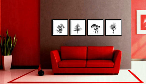 Trees In Silhouette - Silhouettes - Set Of 4 Framed Digital Print With Matte And Glass (24 x 24 inches) each