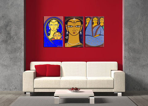 Set Of 3 Jamini Roy Paintings - Handmaiden, Mother and Child, Three Women - Gallery Wrapped Art Print - (12 x 18 inches each) - International - Shipping by Jamini Roy