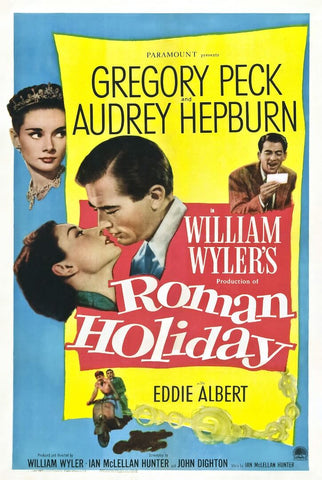 Classic Movie Poster Art - Roman Holiday -Gregory Peck Audrey Hepburn 1953 - Tallenge Hollywood Poster Collection