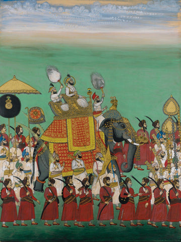 Indian Miniature Paintings - Rajasthani Paintings - Maharana Sajjan Singh riding in an elephant procession