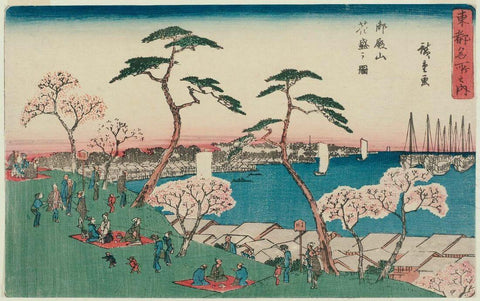 Cherry Blossoms in Full Bloom at Goten-yama - Utagawa Hiroshige - Japanese Woodblock Print - Posters