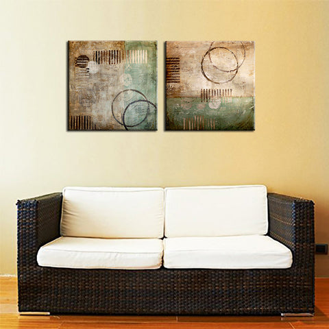 Crop Circles - Modern Abstract Painting - Set Of 2 Gallery Wrap (24 x 24 inches) each