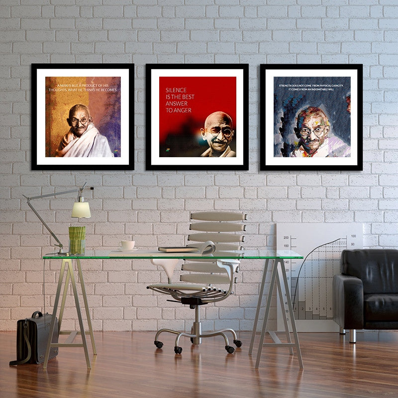 Set Of 3 Mahatma Gandhi Quotes In English With Colored