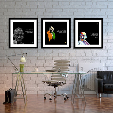 Set of 3 Mahatma Gandhi Quotes In English With Black Background
