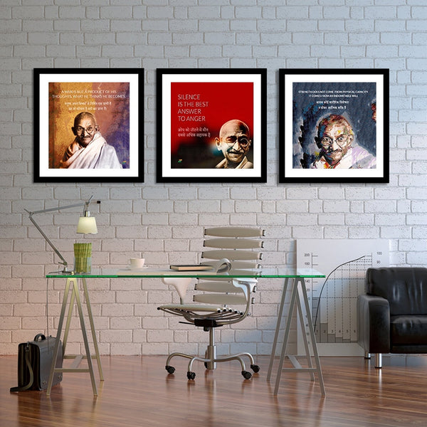 Set of 3 Mahatma Gandhi Quotes In Hindi With Colored Background