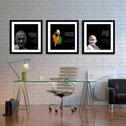 Set of 3 Mahatma Gandhi Quotes In Hindi With Black Background