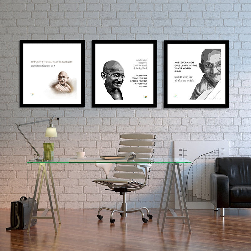 Set Of 3 Mahatma Gandhi Quotes In Hindi With White