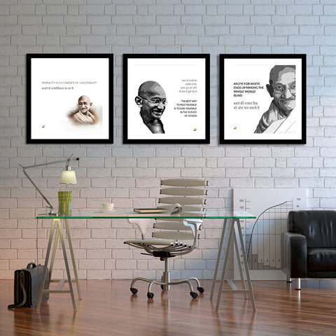 Set of 3 Mahatma Gandhi Quotes In Hindi With White Background