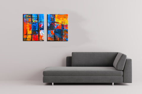 Stacked - Abstract Expressionism Painting - Set Of 2 Canvas Panels - (28 x 37 inches)