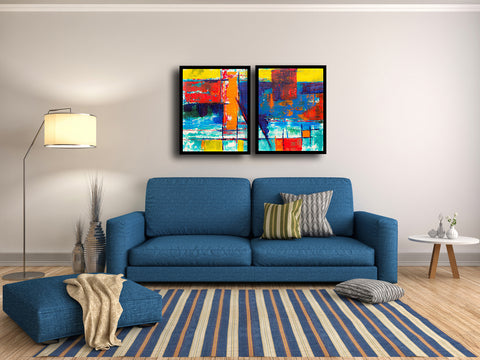 Abstract Expressionism - Contemporary Diptych Painting - 2 Framed Canvas (18 x 24 inches) each