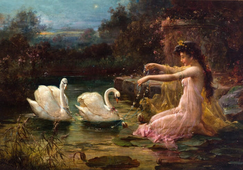 At the Swan Lake by Hans Zatzka