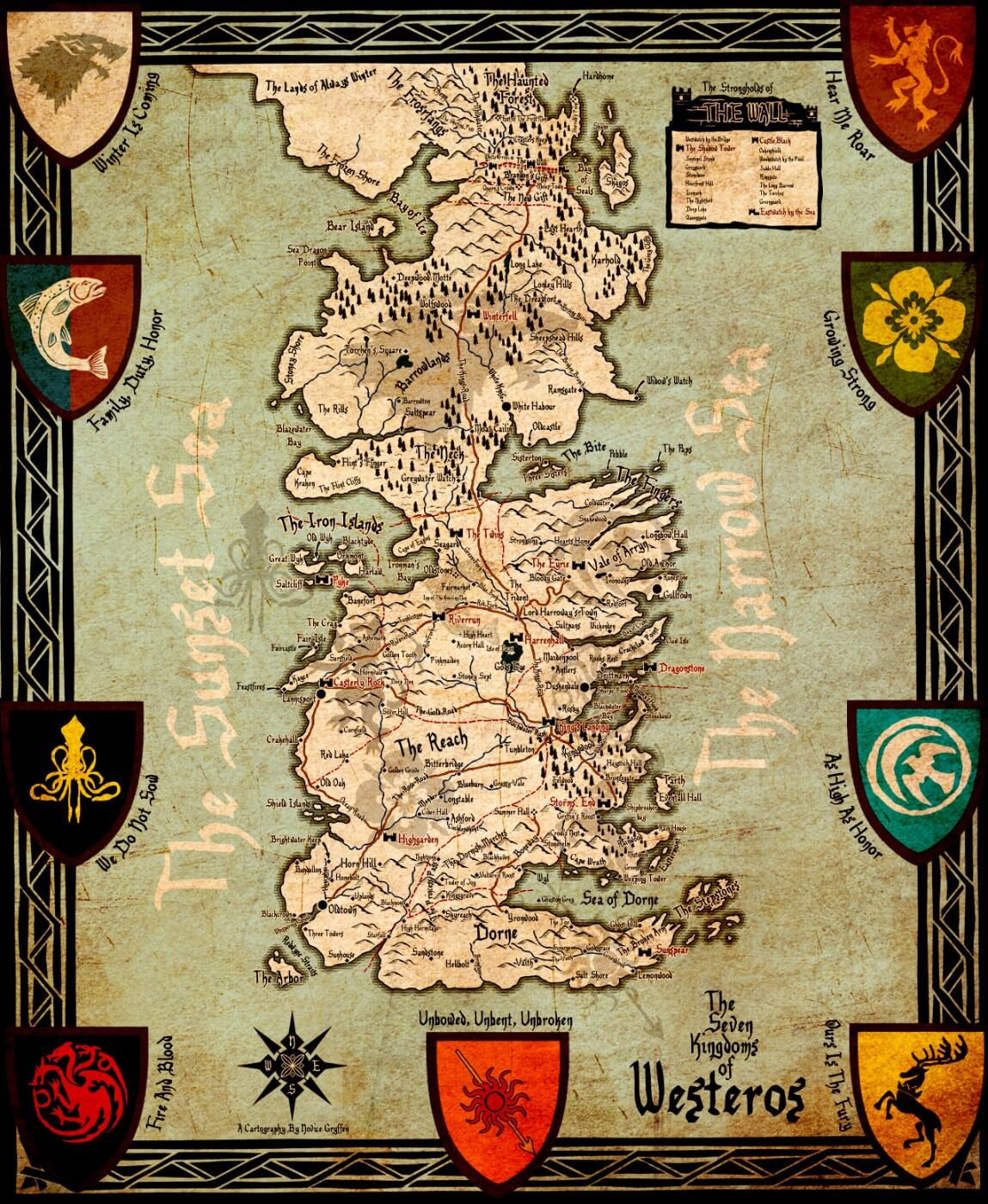 Art From Game Of Thrones Seven Kingdoms Of Westeros Map Art