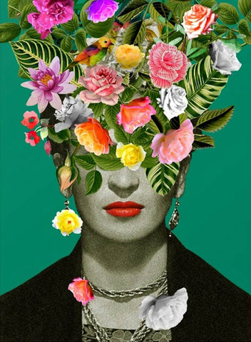 Frida Kahlo Floral Portrait - Pop Art by Frida Kahlo