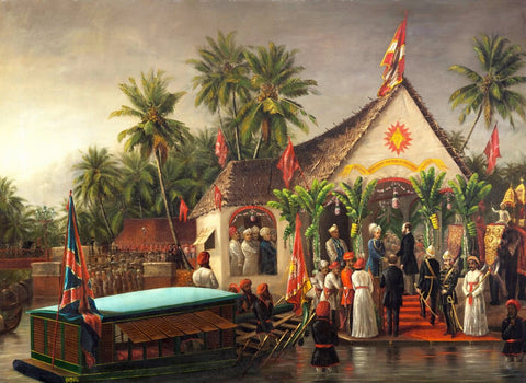 The Maharaja of Travancore welcoming Richard Temple-Grenville, Governor-General of Madras on his official visit to Trivandrum in 1880 by Raja Ravi Varma