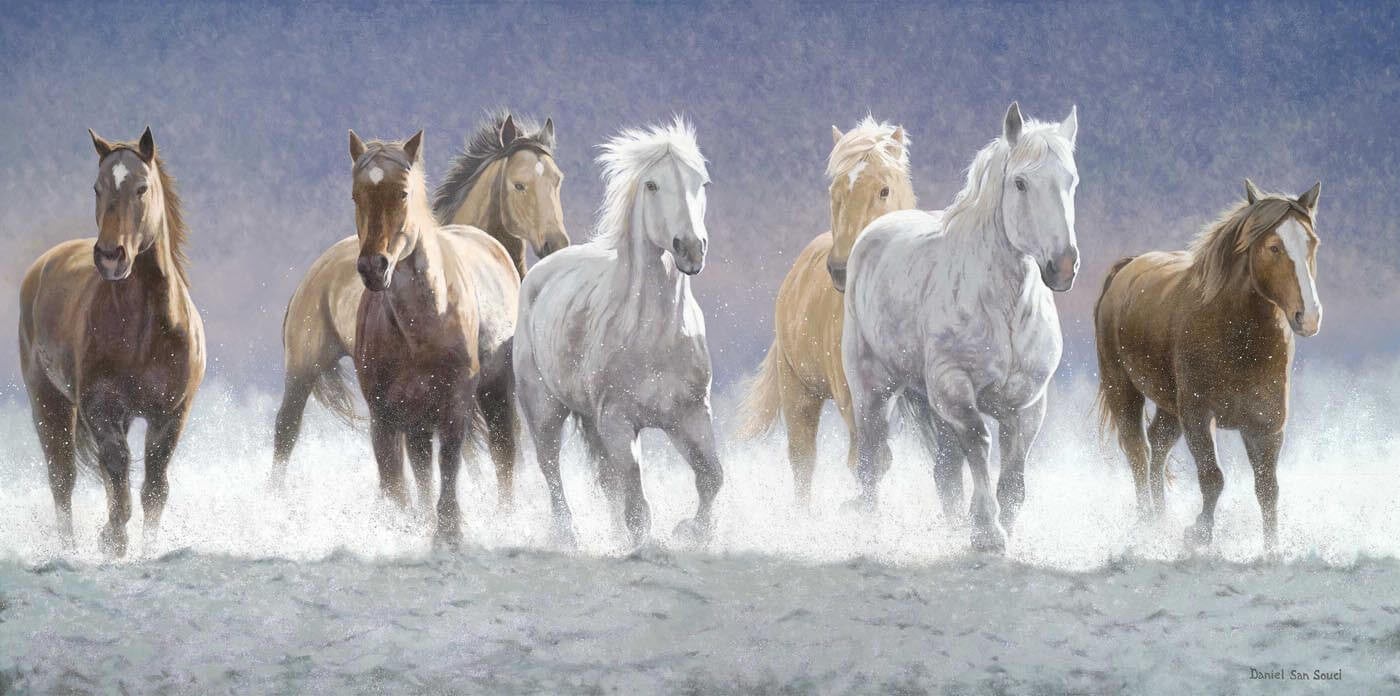 Horses Running Through The Waters Oil Painting Canvas Prints By Joel Jerry Buy Posters Frames Canvas Digital Art Prints Small Compact Medium And Large Variants