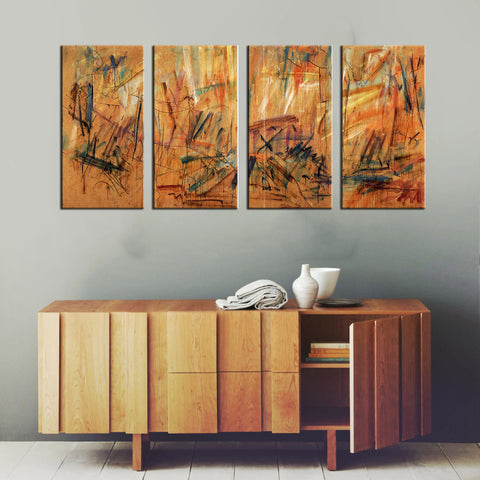 Autumn Forest - Modern Abstract Painting - Set Of 4 Panels (18 x 36 inches) Final Size