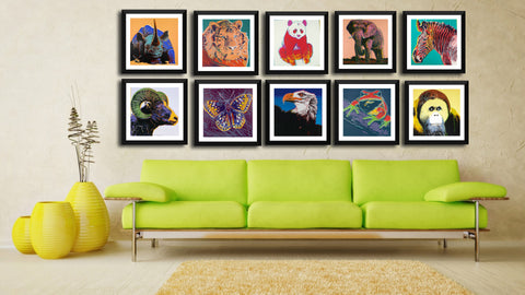 Set Of 10 Andy Warhol - Endangered Species - Framed Digital Art Print (12x12) each - International - Shipping